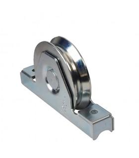 Roulette à encastrer ø80mm avec gorge en V en acier anti pincement