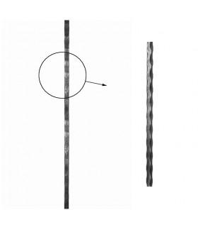 Barre profilée carrée 14x14mm longueur 3m martelée 4 faces acier brut