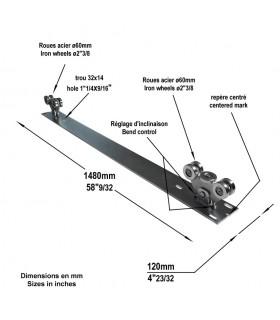 Système 2 chariots de guidage rail de 72x72mm pour portails autoportant 4.5m