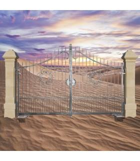 Portail fer forgé AFRODITE 3.5m carré de 14x14mm galvanisé manuel ou motorisable