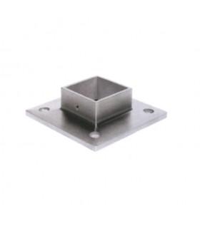 Connecteur droit, plaque de fixation pour 40x40mm Ø42,4mm INOX316
