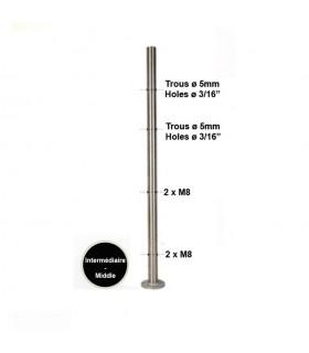 Poteau intermédiaire percé pour montage cable traversant ø4mm et verre. INOX 316