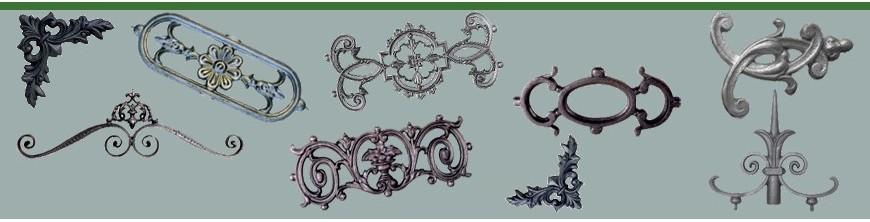 Eléments décoratifs en fonte pour garde corps, décors en ALU et décorations fonte.