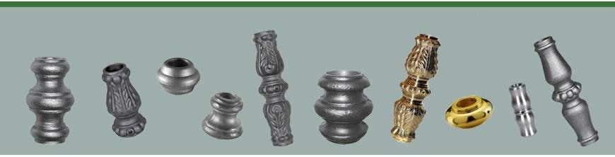 Garnitures, manchons pour balustres. Bagues avec ou sans vis, en acier, fonte, laiton ou aluminium