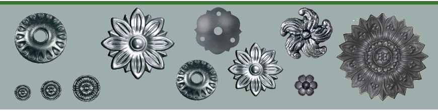 Rosaces en acier pour la décoration ou pour les balustres coudés