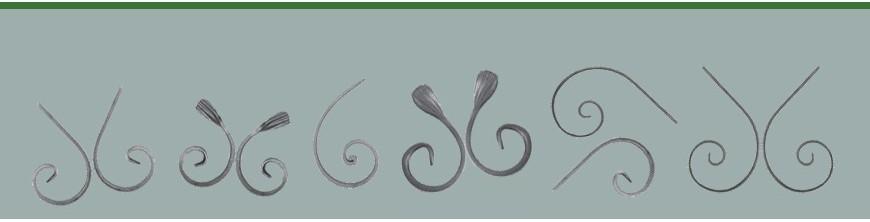 Volutes en forme de demi C en fer forgé pour les hauts de portails ou clôtures