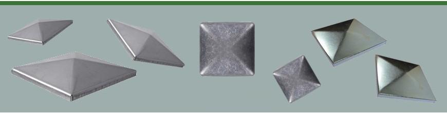 Couvre pilastres pour tubes carrés. Disponibles en acier, inox et alu