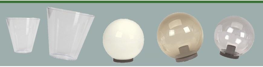 Verres pour luminaires ronds coniques et globes opaques ou teintés