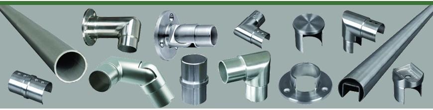 Main courante ronde Ø42,4mm en acier inoxydable AISI304 et raccords et accessoires inox adaptables