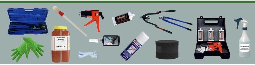 Produits d'entretien, outils et presses à sertir nécessaires, outils