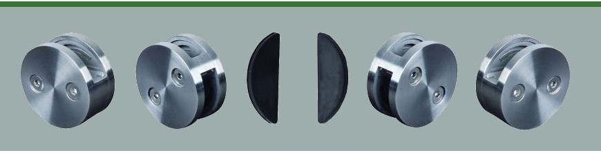 Pinces à verre rondes inox à fixer en déport d'un poteau ou d'un mur