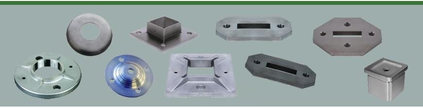 Platines en acier doux ou en acier inoxydable pour poteaux de garde-corps ou d'escaliers avec couvre platines…