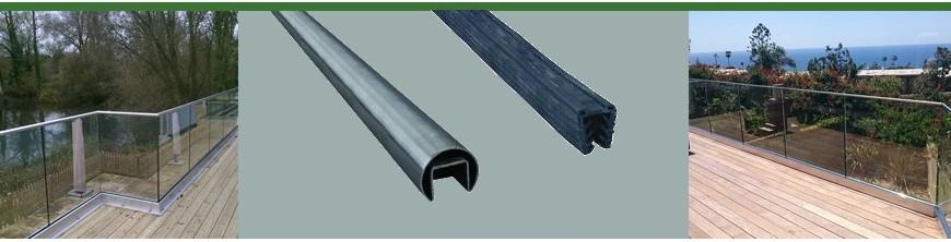 Main courante ronde Ø42,4mm en acier inoxydable avec joint caoutchouc