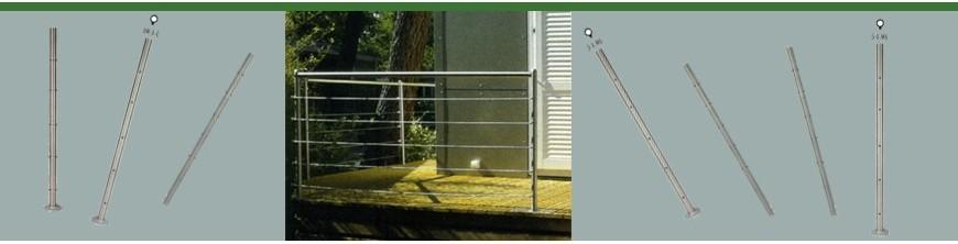 Poteaux acier inoxydable pré-percé pour le passage de câbles en acier inoxydable seuls.
