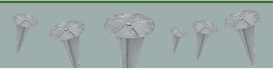 Piquets d'ancrage acier galvanisé à enterrer pour fixation de luminaires extérieurs