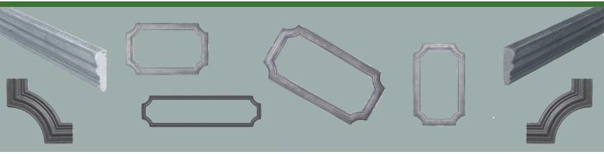 Profils moulurés de soubassements de portails, pergolas ou portillons.