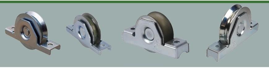 Roulette avec roulement à encaster dans un tube de portail coulissant